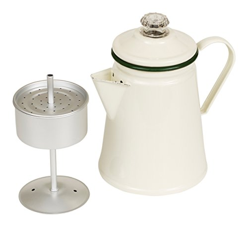 Victor Enamel Coffee Percolator with Green Rim, Steel, 20.5x14.5x22.5 cm