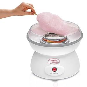 briebe Algodonera Máquina de Hacer algodón de azúcar, Plato de 27 cm, 10 palitos Madera y Cuchara dosificadora