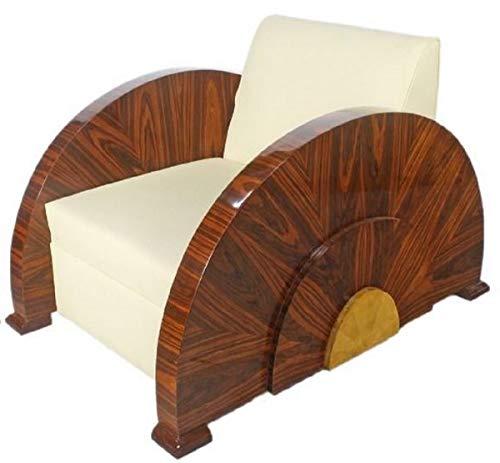 Casa Padrino Sillón Art Deco Blanco/Marrón 75 x 110 x H. 80 cm - Sillón Lounge - Muebles Art Deco - Calidad de Lujo