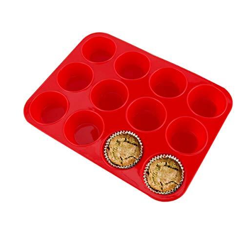 Molde de Silicona Grande para 12 Magdalenas, Bandejas para Hornear Muffin con Recubrimiento Antiadherente para Muffins, Cupcake, Brownie, Pudín 33 x 25x 3 cm (Rojo)