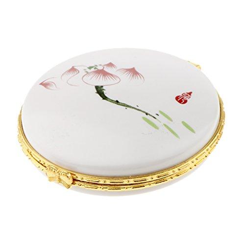 SM SunniMix Céramique Lâche Poudre Jar Crème Boîte Vide Cosmétique Conteneur Cas Beauté - Lotus rouge