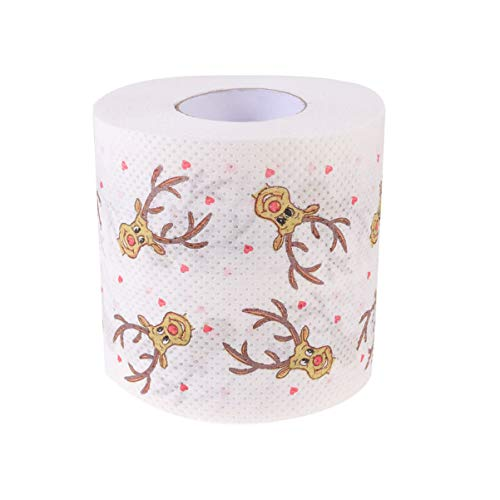 Tomaibaby Christmas Toilet Tissue Paper Rolls, Reindeer, Novelty Christmas Toilet Roll Pack Xmas Party Favor Supplies