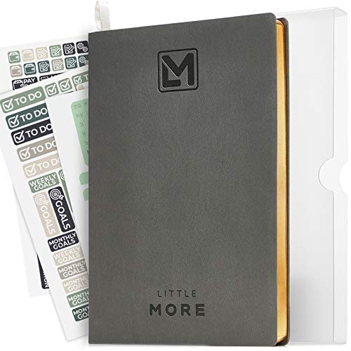 """Little More Daily Organizer Planner in Protect Box - Undated Productivity Planner for Achieve Goals - A5 Vegan Leather 5.5""""x8.5' - Calendar Stickers 2020 (Gray Gold)"""