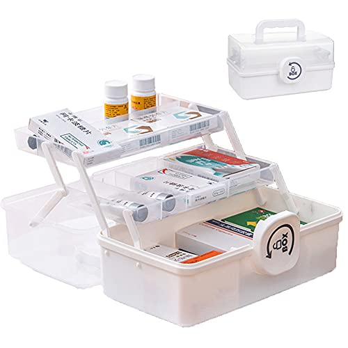 LAMPTOP 救急箱 薬箱 薬ケース 緊急ボック かわいいツールボックス 3層折り畳み式 裁縫箱 工具箱 家庭用 防災用 大容量 薬入れ 小物入れ 多機能収納ケース(白色)