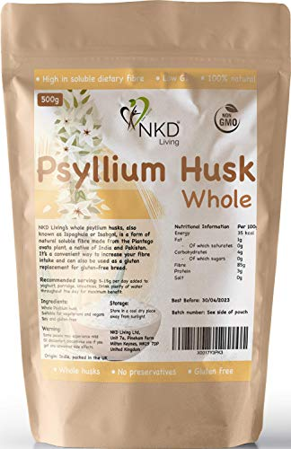 Whole Psyllium husks by NKD Living (500g)