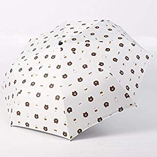 WHPSTZ Umbrella Creative Brown Bear Cartoon Children's Umbrella Lightweight Portable Folding Reinforced Windproof Student Rain and Rain Dual-use Sun Umbrella Umbrella (Color : White)