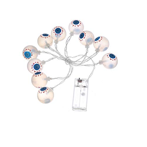 XSARACH 20 LED Unheiligen augappelvormige lichten, Halloween decoratie lichtsnoer, familietuinfeest, indoor outdoor decoratie, lichtsnoeren, geel