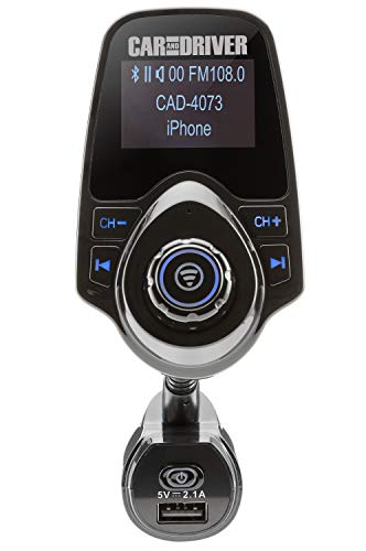 Car And Driver Wireless Bluetooth FM Transmitter Audio Adapter Wireless Receiver with AUX USB Input - Hands Free Phone Speaker, 1.44 Display, Goose-neck Mount