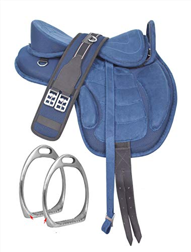 """HR, International Youth Child English Synthetic Treeless FREEMAX English Pony Miniature Horse Saddle Tack with Handle Get Matching Girth & Leather Straps Size 10"""" Inches Seat"""