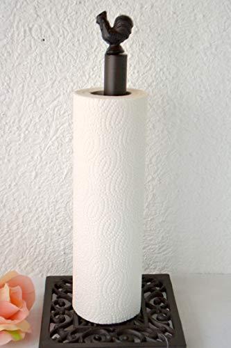 Küchenrollenhalter mit Hahn, sehr stabil, braun, Höhe 32,5 cm, aus Gusseisen, Landhausstil