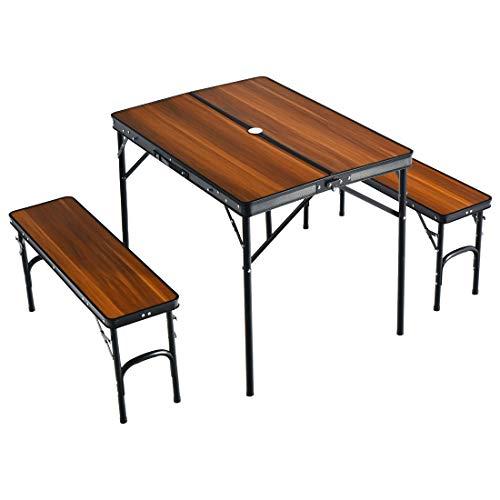 タンスのゲン アウトドアテーブル レジャーテーブル 幅90cm ベンチ 2脚セット 2段階高さ調節 軽量 ブラウン×ブラック 45000000 06AM 【69153】
