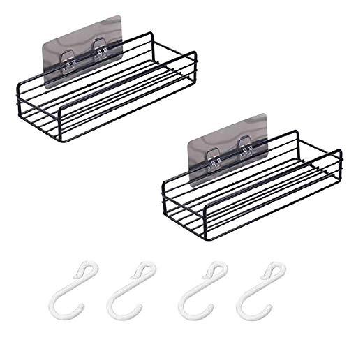 ZYLBL 2 estantes de baño esquineros de almacenamiento organizador de ducha de pared adhesivo sin taladrar hierro de cocina, baño o cocina (negro)