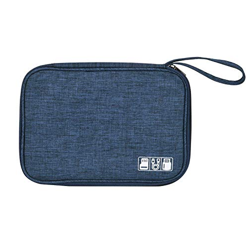 Electronic accessories storage bag, universal travel digital accessories storage bag, suitable for portable charger, cable, headset, ipad Mini, iPhone, cable, customized internal partition (Dark Blue)