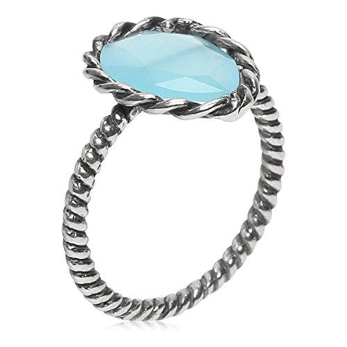 Córdoba Jewels | Sortija en Plata de Ley 925 bañada en óxido con Piedra semipreciosa con diseño Boho Kiut Aguamarina