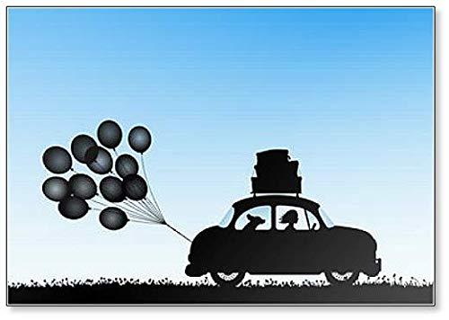 Cartoon Retro Auto op Weg. Illustratie met Silhouetten van Mensen en Hond Reizen Koelkast Magneet