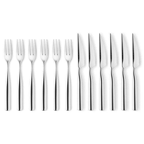 EVA SOLO 571108 Steakbesteck, Grillbesteck, 12-teilig, Edelstahl, 29,8 x 26,4 x 4,2 cm