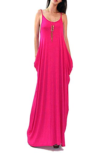 Vivicastle Batwing Oversized Loose Plain Summer Sleeveless Pocket Long Maxi Dress (Small, Fuchsia)