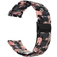 時計バンド、Fullmosa 樹脂バンド 交換ベルト 全5色 装着簡単 メンズ レディース ブレスレット 18mm 20mm 22mm(22mm ブラックローズ)