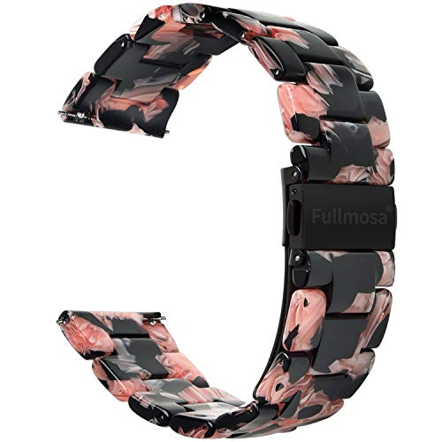 Fullmosa Quick Release Watch Band 18mm,Resin watch band Bracelet Compatible Asus Zenwatch 2/LG Watch Style/Withings Activité/Steel HR 36mm,Black Rose