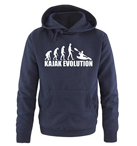 Comedy Shirts KAJAK Evolution -Herren Hoodie in Navy / Weiss Gr. L