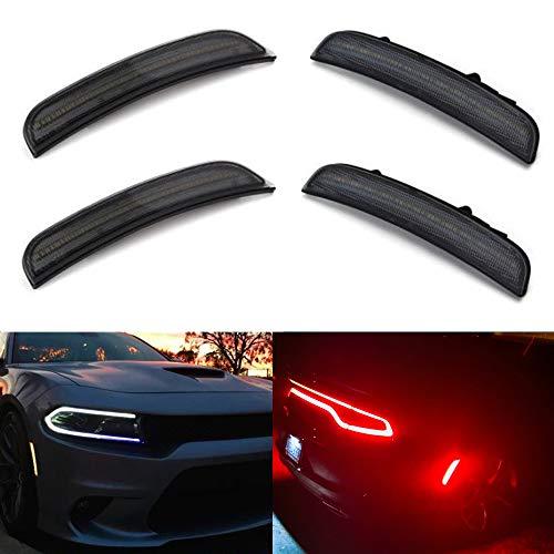 Amber Red LED Side Marker Light for Dodge Charger 2015 2016 2017 2018 2019 Smoke Lens Led Side Marker Lights Front & Rear Sit Car Led Side Marker Lamp Kit