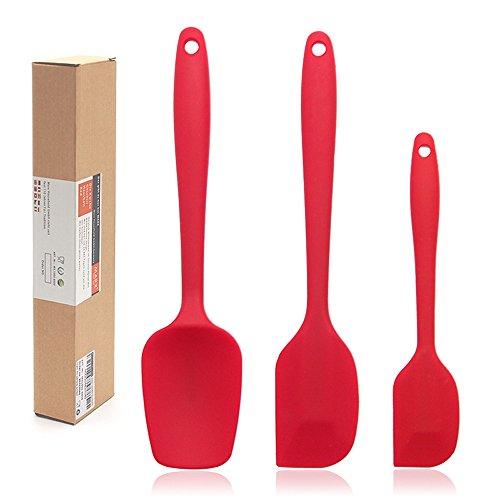 DGBAY Espátulas de Silicona Paleta Utensilios Cocina, Protección del Medio Ambiente, No Tóxico, Antiadherente, Resistente al Calor, 3 Piezas, Color Roja