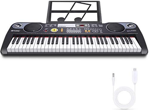 RenFox Teclado Musical Digital Electrónico portátil con 61 Teclas, Teclado de Piano, Soporte de Música, Fuente de Alimentación y Altavoces Incorporados para Principiantes