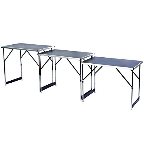 Table pliante multifonctionnelle, table polyvalente, table de camping, table pliante, table de marché, table de tapisserie réglable en hauteur, table d'appoint pour le camping dans le jardin pour les marchés de festival et plus (3 x noir: 100 x 60 cm)