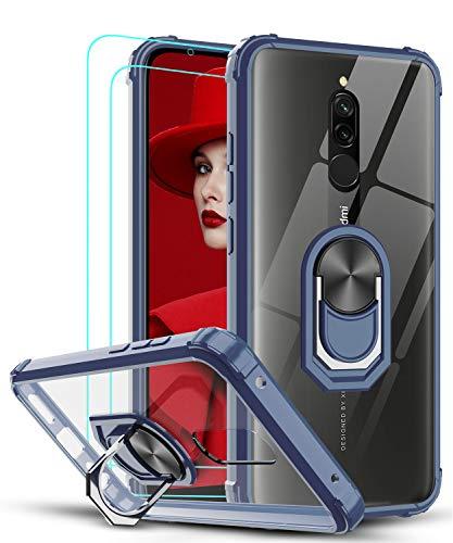 LeYi Funda Xiaomi Redmi 9 con [2-Unidades] Cristal Vidrio Templado,Transparente Carcasa con 360 Grados iman Soporte Silicona Bumper Antigolpes Armor Case para Movil Redmi 9,Clear Azul