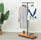 59'Tall,Black,Industrial Pipe Coat Rack Stand,Rolling garment Rack for Hanging Clothes Retail Display,Free Standing Coat Rack,Hallway/Entryway Coat Hanger Stand for Clothes, Suits, Accessories