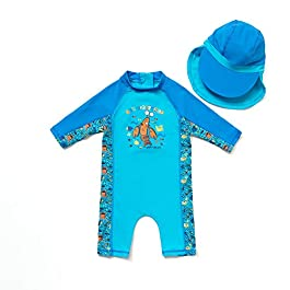 Bonverano(TM) Kids UPF 50+ Sun Protection S/S One Piece Zip Sun...