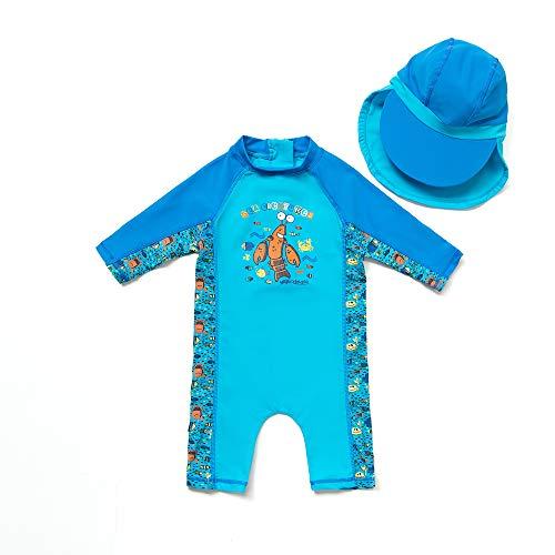 BONVERANO Baby Junge EIN stück 3/4 der ärmellänge UV-Schutz 50+ Badeanzug MIT Einem Reißverschluss(Blau-Krabben,24-36M)