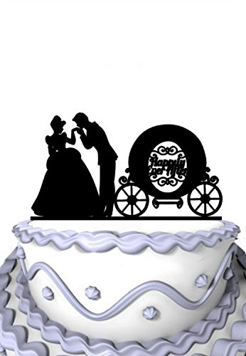 Meijiafei Wedding Cake Topper - Humble Girl with Carriage Happily Ever After Inspired Party Decoration - Soiree Collection