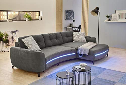 RASANTI Wohnlandschaft re./li. montierbar inkl RGB-LED-Beleuchtung + Soundsystem + USB-Ladefunktion + Schlaffunktion Lightning-SE von Job Dunkelgrau