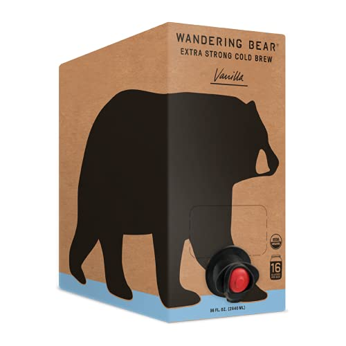 Wandering Bear Extra Strong Organic Cold Brew Coffee On Tap, Vanilla, 96 fl oz - Smooth, Unsweetened, Shelf-Stable, and Ready to Drink Cold Brew
