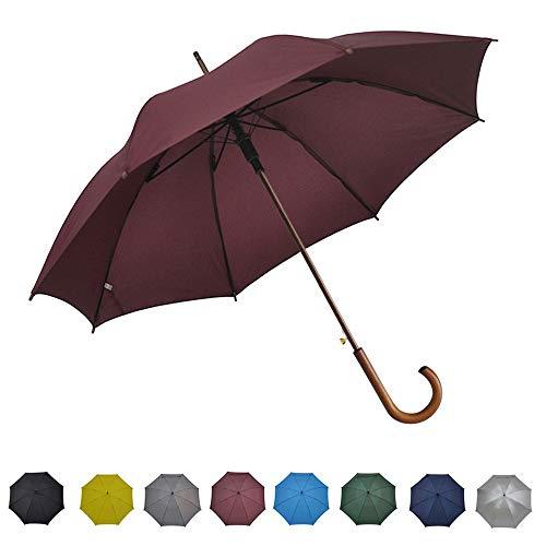 "SoulRain Windproof Stick Umbrella Auto Open Wooden Handle Travel J Stick Umbrellas for Men and Women Wine 48"" Arc Unbreakable"