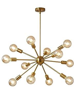 Satellite Chandelier Artificial Satellite Chandelier Old-Fashioned Industrial Chandelier Lighting 12 Brass Ceiling Lights mid-Century Modern Living Room Dining Room Bedroom Lighting Installation