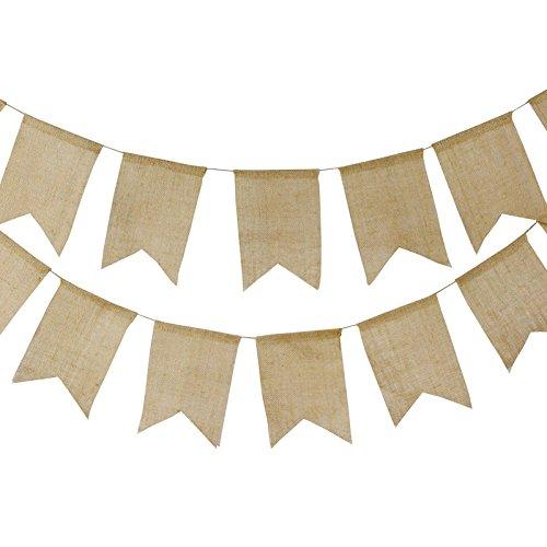 G2PLUS 15 STK Leinen Wimpelketten, Rustikale Wimpel Garlande, Hessischen Wimpeln für Hochzeit Dekoration