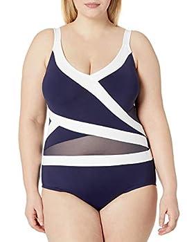 Anne Cole Women s Mesh-Insert Asymmetric Spliced One-Piece Swimsuit Navy White 16W