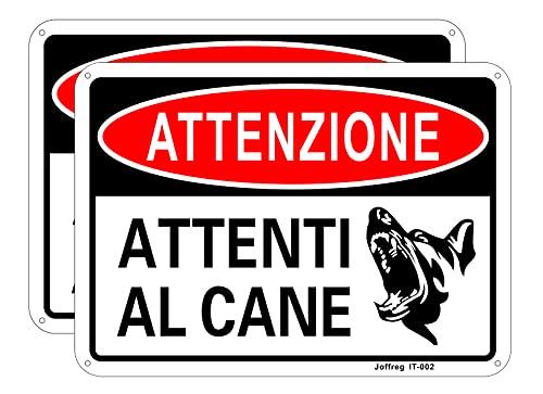 Joffreg Attenti al Cane,18 x 25 cm,in Alluminio Riflettente,2 pz