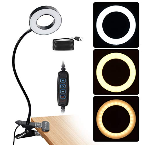 Skymore Clip on Light Reading Lights, 48 LED USB Book Light with 3 Color Modes, 10 Brightness Dimmer & 360° Flexible Gooseneck Bed Night Light, Eyelash Lamp for Makeup, Nail Art , Tattoo, Manicure