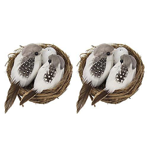 XOZ Realistic Lawn Parties Miniature Ornaments, Birds Egg Bird Nest, Artificial Birds, Realistic Feathered Birds with Nest & Birds Egg(2set)