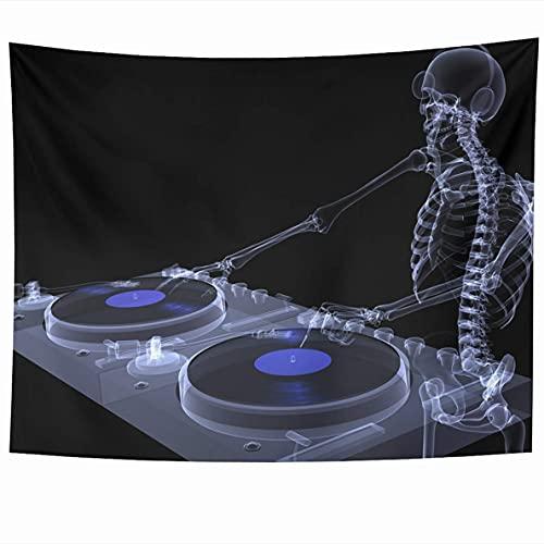Tapiz Auriculares grises Ray Skeleton Dj Spinning Records On Couple Xray Tocadiscos Anatomía Cráneo Cuerpo negro Colgante de pared Decoración del hogar Tapices para sala de estar Dormitorio Dormitorio