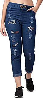 ROOLIUMS® Brand Factory Outlet Women Print Boyfriend Fit Denim, Jeans Jogger for Women- Medium