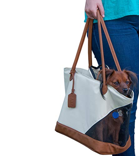 Pet Gear Tote Bag Carrier for Cats/Dogs, Storage Pocket, Removable Washable Liner, Zippered Top and Mesh Windows, Sand