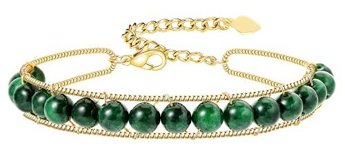 Pulsera de cristal verde natural, pulsera de mujer chapada en oro de 14k hecha a mano, pulsera de mujer de piedras preciosas naturales de 6 mm, pulsera de cristal natural