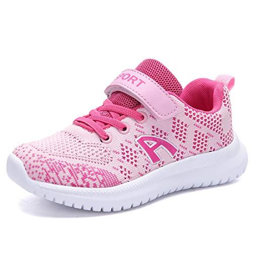 Unpowlink Kinder Schuhe Sportschuhe Ultraleicht Atmungsaktiv Turnschuhe Klettverschluss Low-Top Sneakers Laufen Schuhe Laufschuhe für Mädchen Jungen 28-37, Rosa-a, 31 EU