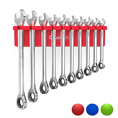 Olsa Tools Magnetic Wrench Organizer (Red) | Wrench Holder Fits Wrenches SAE 3/8 Thru 15/16 & Metric 10mm Thru 19mm | Professional Grade