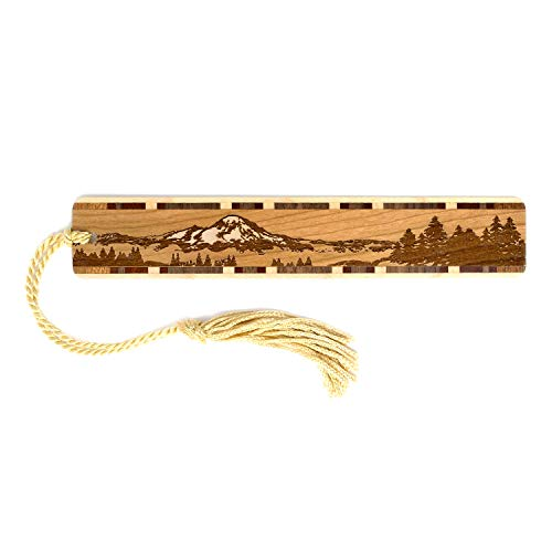 Mountain Wilderness Scene - Engraved Wooden Bookmark with Tassel - Search B07JJMWR5X for Personalized Version