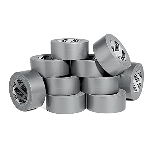 Heavy Duty Silver Duct Tape - 10 Roll Multi Pack - 30 Yards x 2 Inch - Strong, Flexible, No Residue, All-Weather and Tear by Hand - Bulk Value for Do-It-Yourself Repairs and Professional Use